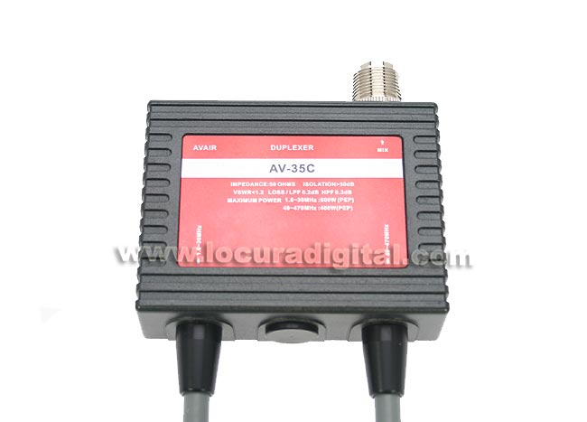 AVAIR AV35C duplexer 1 input, 2 outputs from 1.6 to 30 Mhz. / 49-470 MHz.