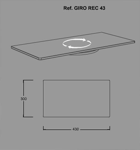 Soutien GIROREC43 rectangulaires écrans en verre pivotantes TV. Couleur NOIR