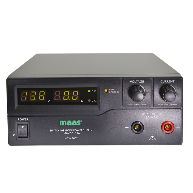 MAAS HCS3602 Adjustable Power Supply adjustable 1-30 volts and 0-30 amps.