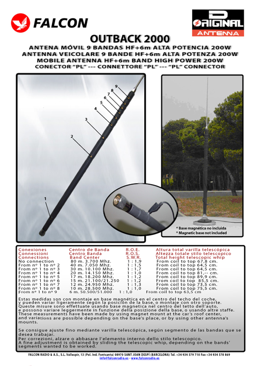 FALCON OUTBACK 2000 MOBILE HF 9-Band ANTENNA 80 / 40 / 30 / 20 / 17 / 15 / 12 / 10 / 6 meters