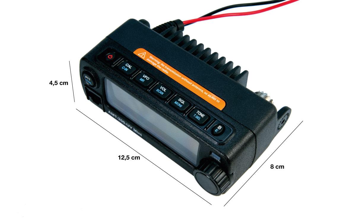 maas amt-200-uv emisora movil mini dual band144/430 mhz vhf/uhf, ultra-compacto (121,5 x 65,5 x 42,5 mm)