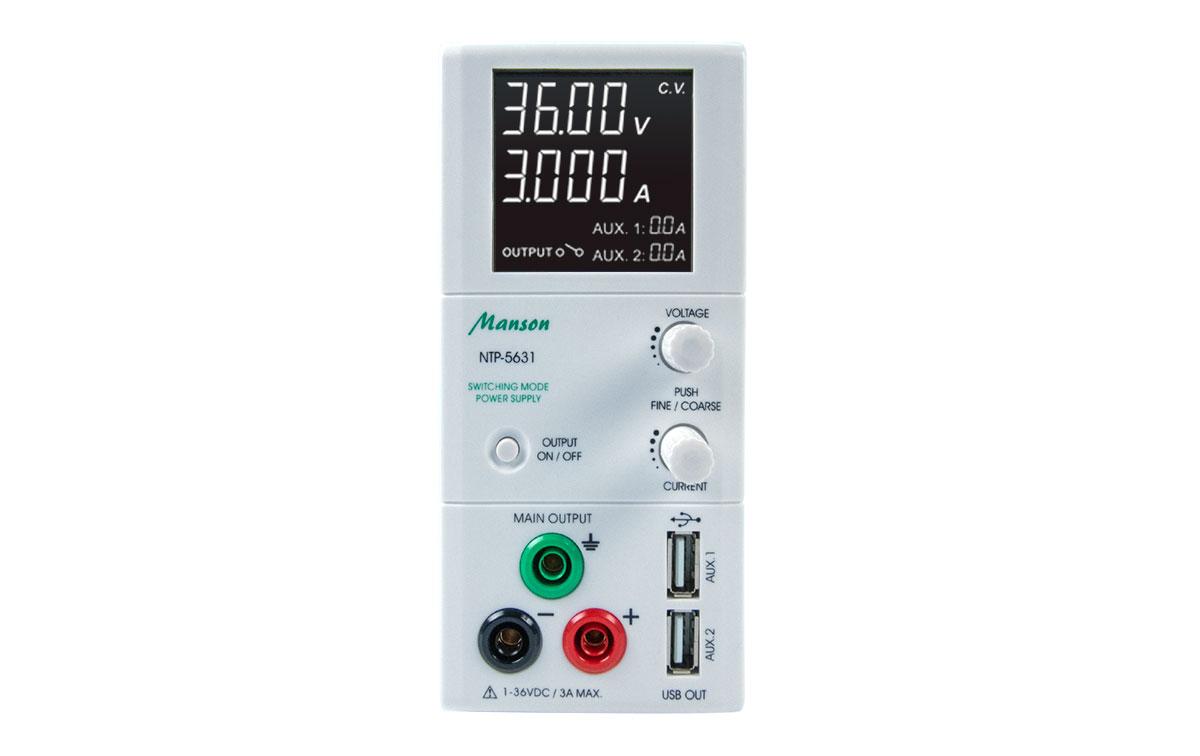 NTP5631 MANSON Fuente Alimentación Laboratorio 1-36V DC/ regulable 0,25 a 3A, on dos voltajes de salida simultáneos.