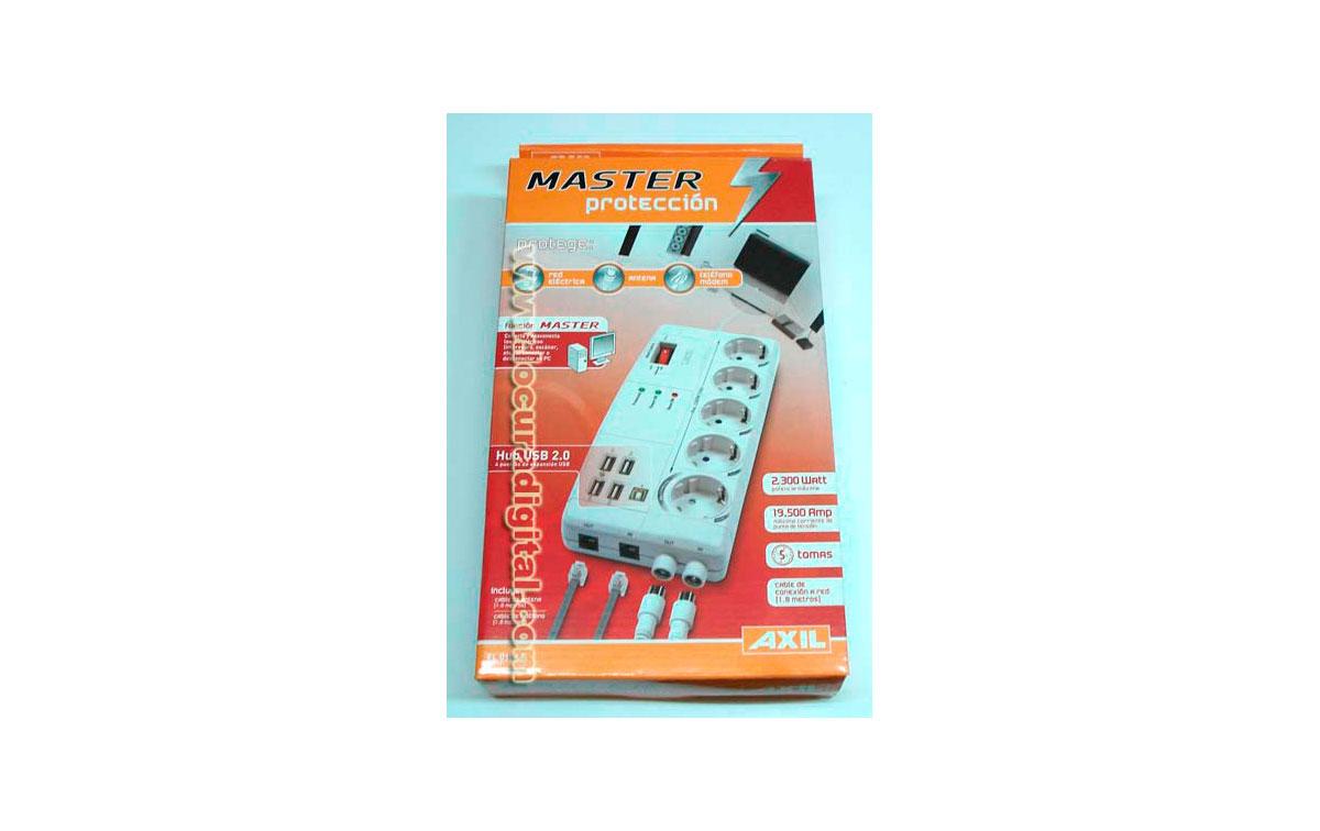 EL0154E Proteje red eléctrica, antena y teléfono módem - 5 TOMAS CORRIENTE, 1 ANTENA , 1 FAX / TELF