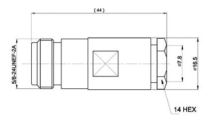 CON02080036 MARCU Conector N HEMBRA soldar.Para cable RF 287 UF, para cable diametro 7,3 mm vivo 1,9 mm