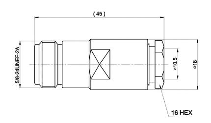 con02080038 marcu conector n hembra soldar.para cable rf 400uf y rf 400lrp,cable diametro10,3 mm vivo 3 mm