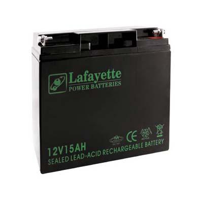 BATERIA DE PLOMO RECARGABLE Lafayette Power VOLTAGE 12V. Capacidad 15 amperios. Terminal: T3