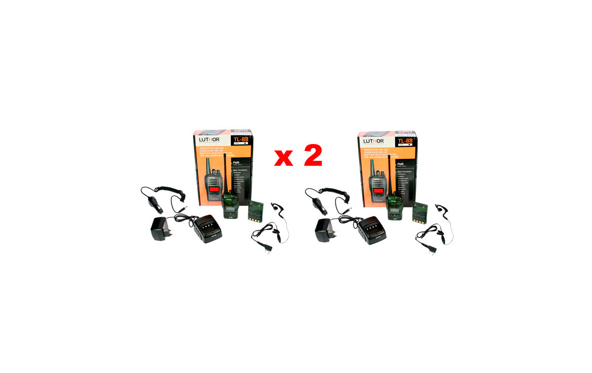 LUTHOR TL88 TACTICAL  KIT2 PACK OF TWO PROFESSIONAL PMR 446 HANDHELDS CAMOUFLAGE GREEN COLOURS FOR FREE USE WITHOUT LICENSE. Two Rubber Earphones FOR FREE. NEW MODEL!!!