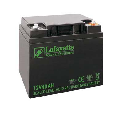 SW-12 400 Lafayette RECHARGEABLE LEAD BATTERY VOLTAGE 12V Power. Capacity 40 amps. Terminal: T16