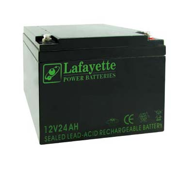 SW-12 240 Lafayette RECHARGEABLE LEAD BATTERY VOLTAGE 12V Power. Capacity 24 amps. Terminal: T4
