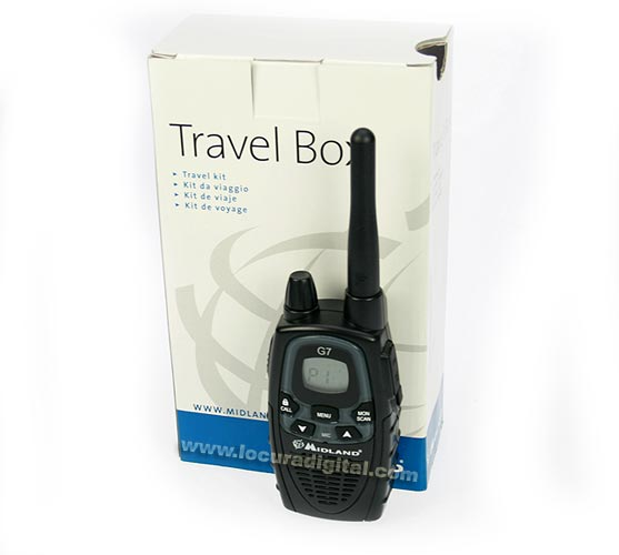 ALAN MIDLAND TRAVEL BOX G7E XT. Kit consists: 1 walkie + belt clip + wall charger + 1 battery + earpiece earplug. ! NEW MODEL!