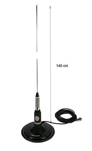 Myrmidon BRAVO-150. CB Antenna 27 Mhz. 5 / 8 LENGTH 1.48 m + MAGNET BASE CONNECTOR PL-175 WB