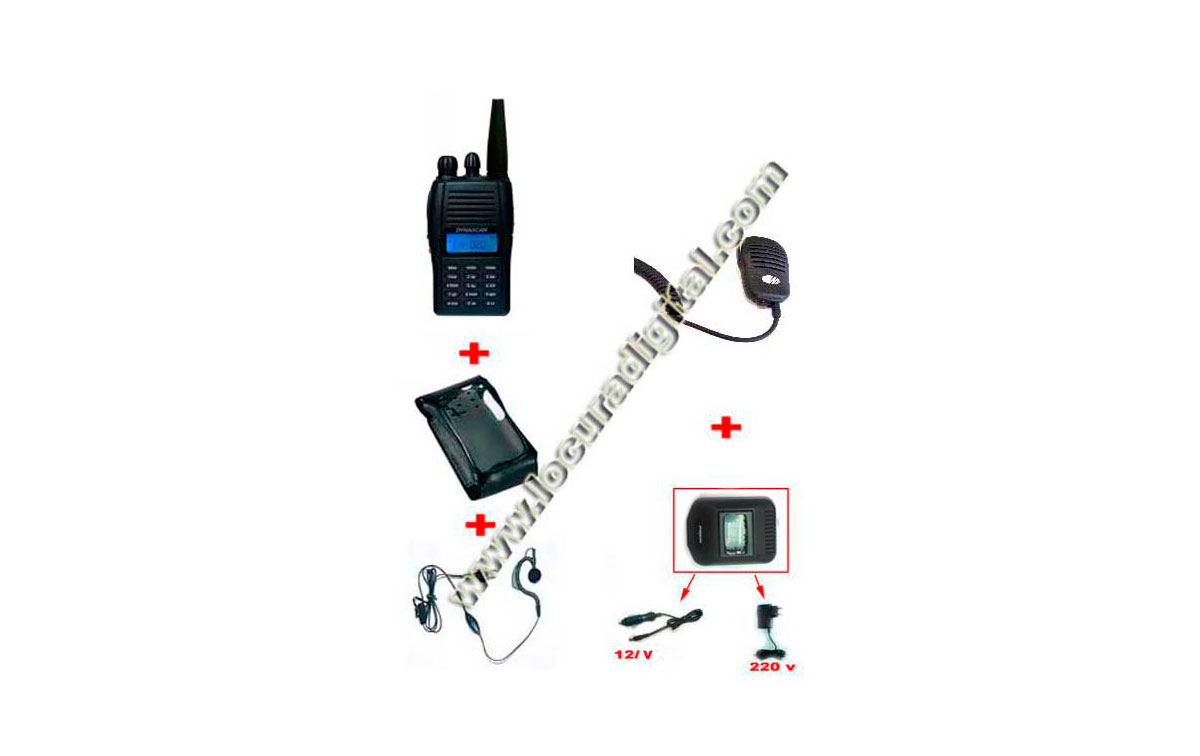 DYNASCAN V-300 Walkie VHF  144 mhz. 1 walkie + 1 Funda de piel +  Pinganillo + 1 Cargador de mechero