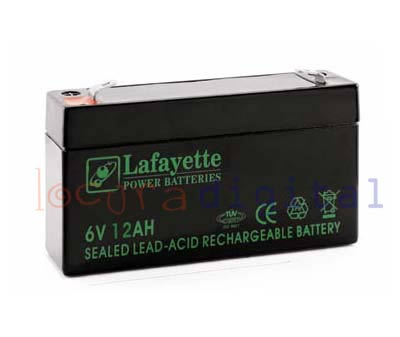SW6120 LEAD RECHARGEABLE BATTERY VOLTAGE Lafayette 6 V. Power Capacity 12 amps. Terminal: T1