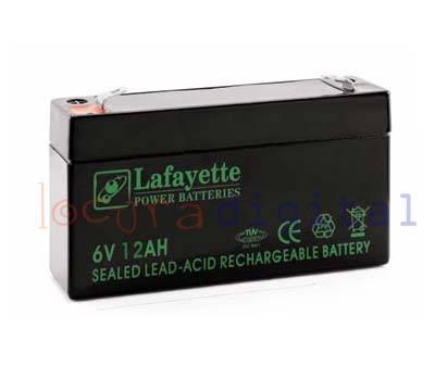 SW6120 BATERIA DE PLOMO RECARGABLE Lafayette Power VOLTAGE 6 V. Capacidad 12 amperios. Terminal: T1