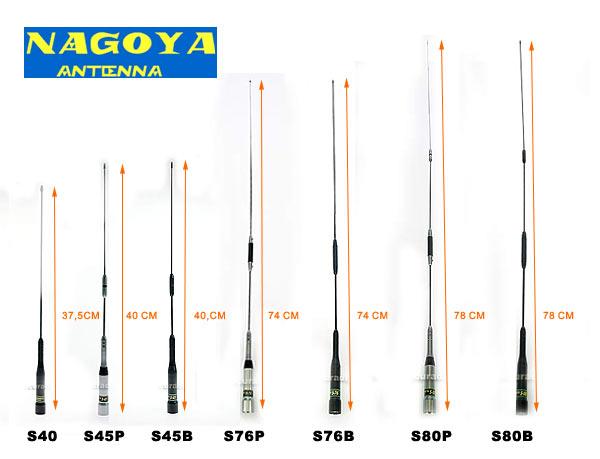 NAGOYA S45P. Dual-band antenna 140-150 / 430-460 MHz VHF / UHF. 2,15 / 3,5 dB. Max. power 100 w.