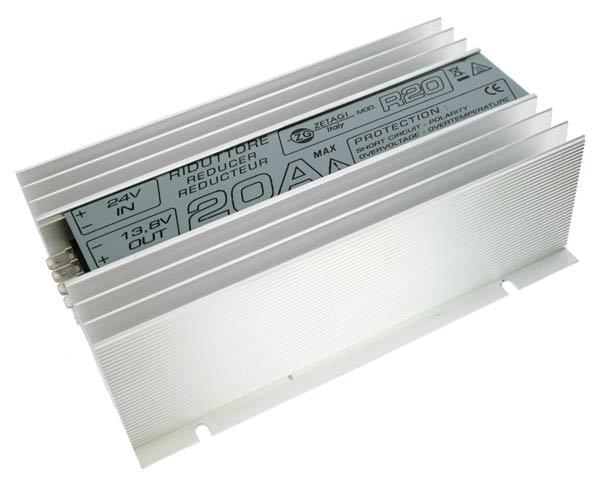 R20ZETAGI ZETAGI voltage reducer 24 to 12 volt, 20 amp. self-protected