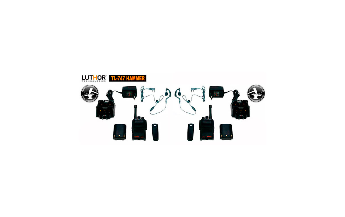 LUTHOR TL-747 KIT 2 HAMMER Walkie 16 CANALES PMR 446 MHZ X 2 UNIDADES DE WALKIES