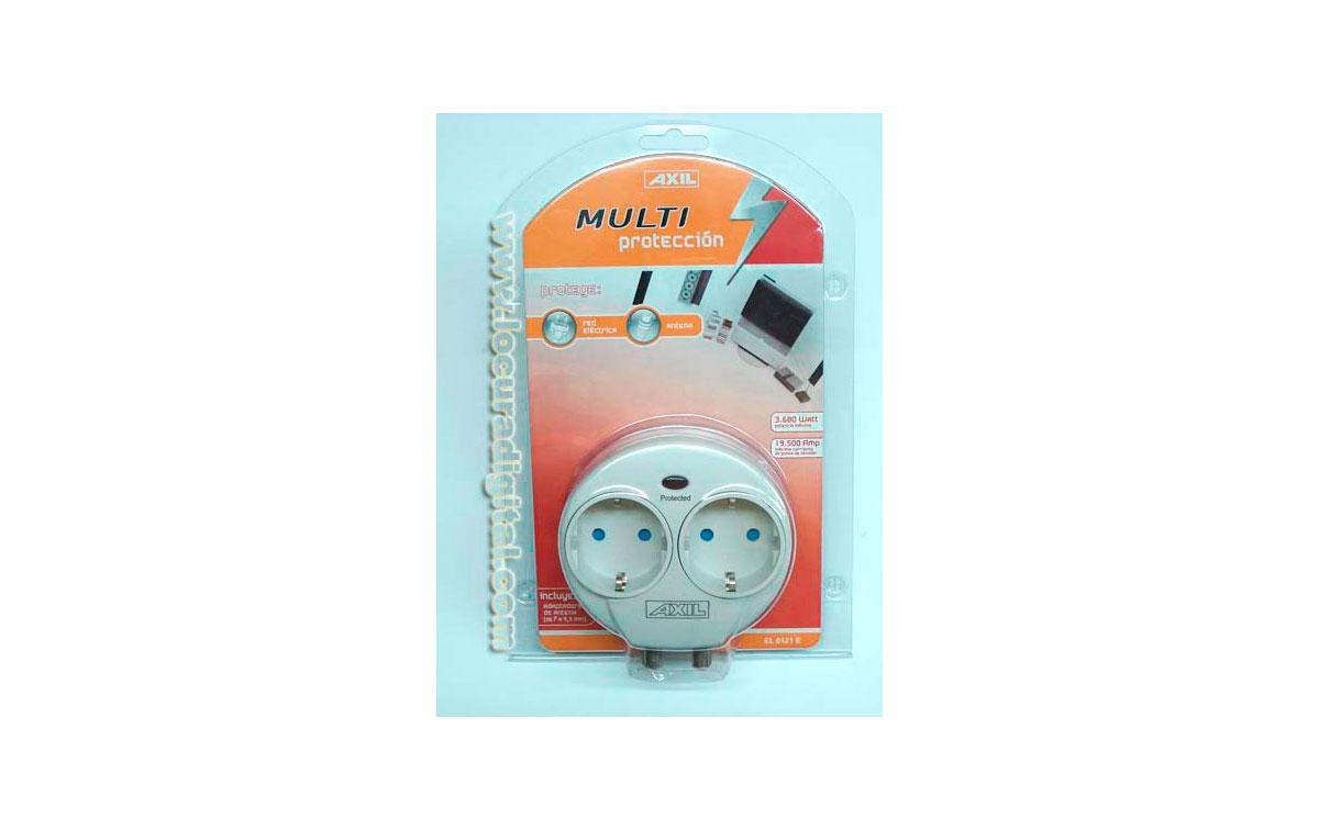 EL0121E Proteje red eléctrica y antena - Incluye adaptadores de antenar de f a 9,5 mm - 2 TOMAS
