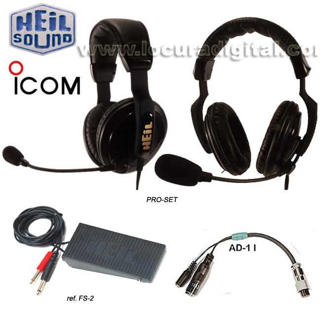HEIL SOUND-4-AD11 PROSET Micro headset for HEIL PRO-SET-4 + AD-11 + FS-2 for Icom 746 PRO 756PRO, 756PRO II, PRO III, 7800.