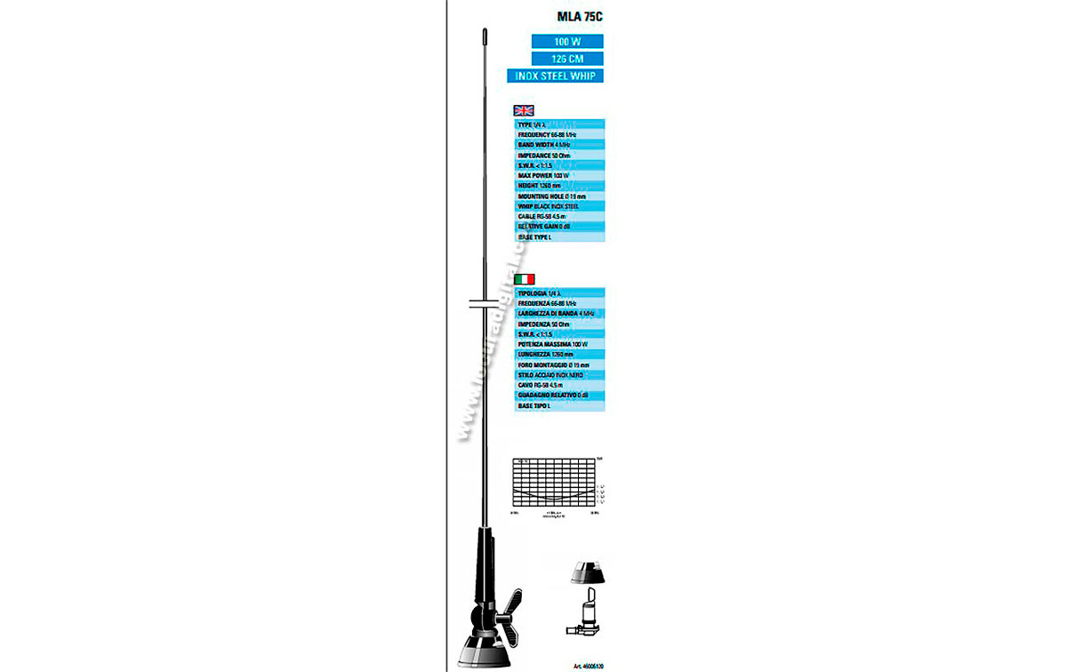 MLA75C SIRTEL Antena móvil palomilla 1/4, 66-88 Mhz.100 watios, longitud 126 cms.