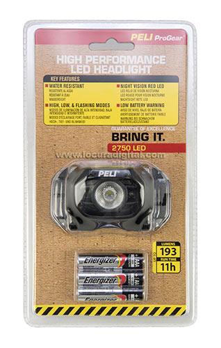PELI 2750 LINTERNA PELI FRONTAL LED Lumens 193 carcasa color NEGRA