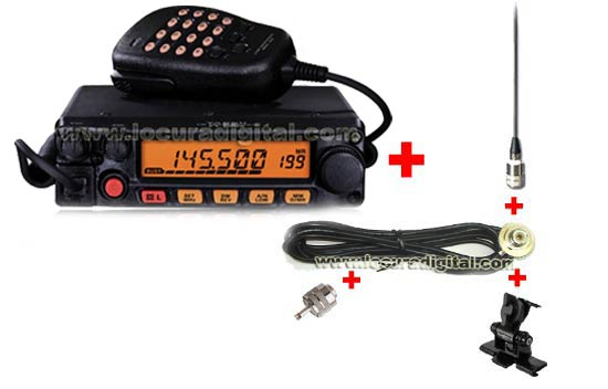 YAESU FT-1900E VHF 144MHz KITA STATION IDEAL FOR VEHICLES WITHOUT MOUNTING PLATE WITH HOLE SHORT ANTENNA 50 CM.