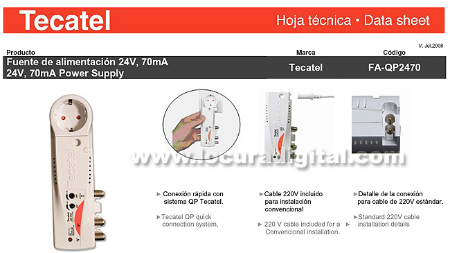 TECATEL AMPIN24AVU internal amplifier VHF - UHF 2 outputs