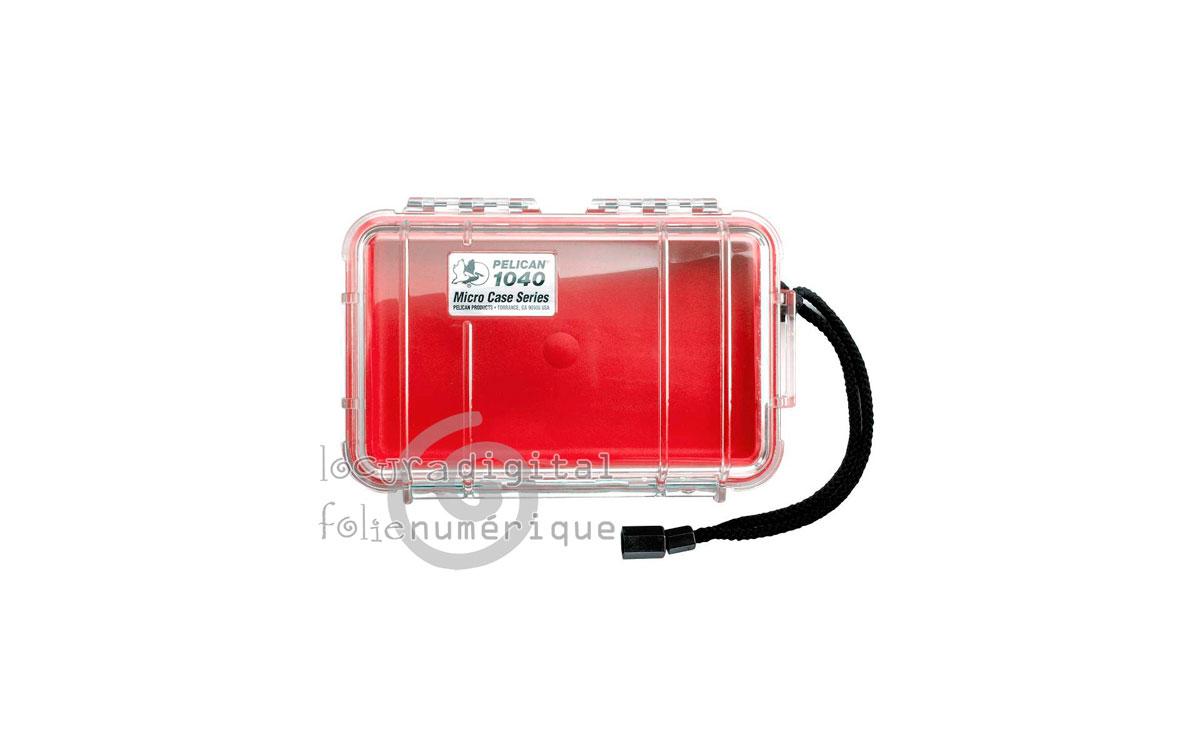 1040-028-100E Micro-Maleta de protección Transparente-Roja