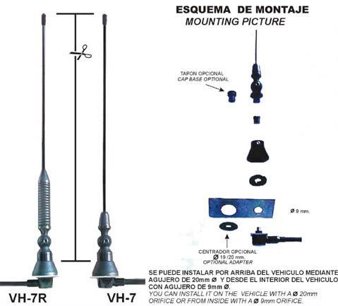 VHF7 R. Antena de movil VHF o UHF