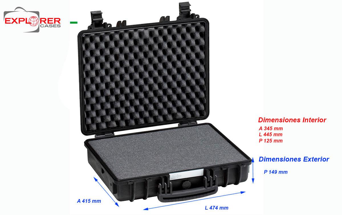 4412b maleta explorer color negro espuma interior l445 x a345 x p125
