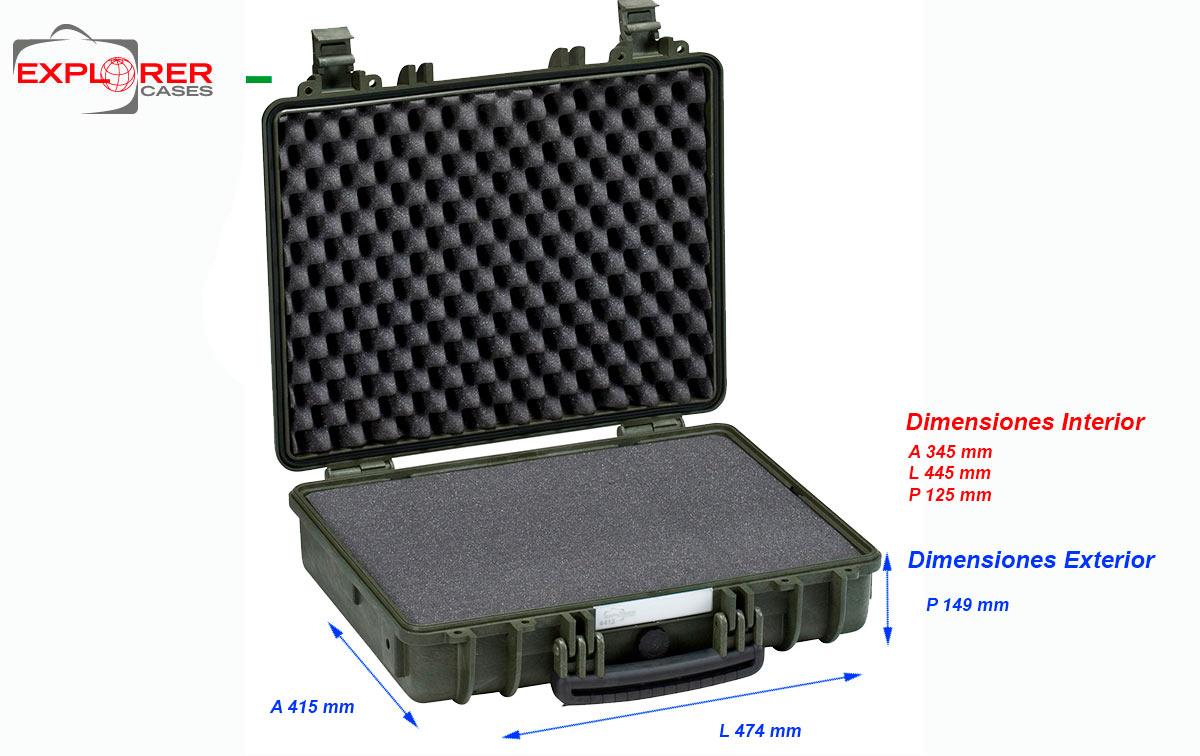 4412g maleta explorer color verde espuma interior l445 x a345 x p125