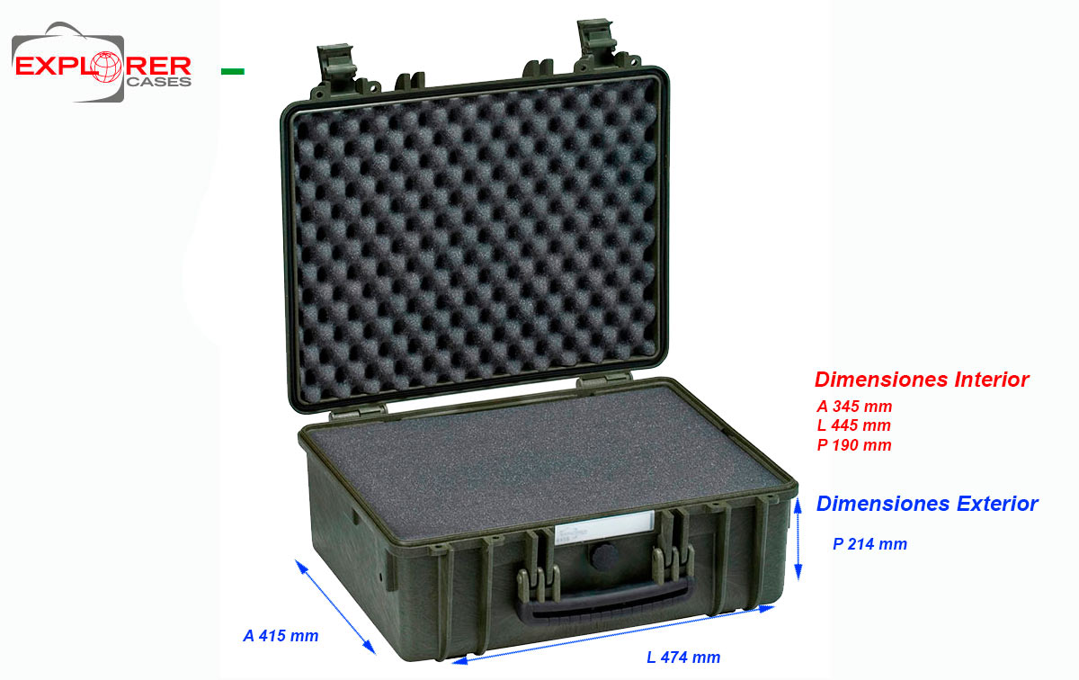 4419G Maleta Explorer verde con espuma Int- L 445 x A 345 x P 190 mm