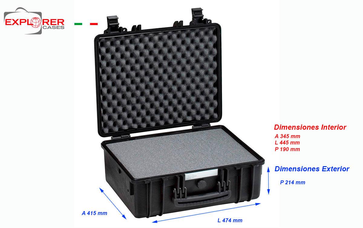 4419b maleta explorer color negro con espuma interior