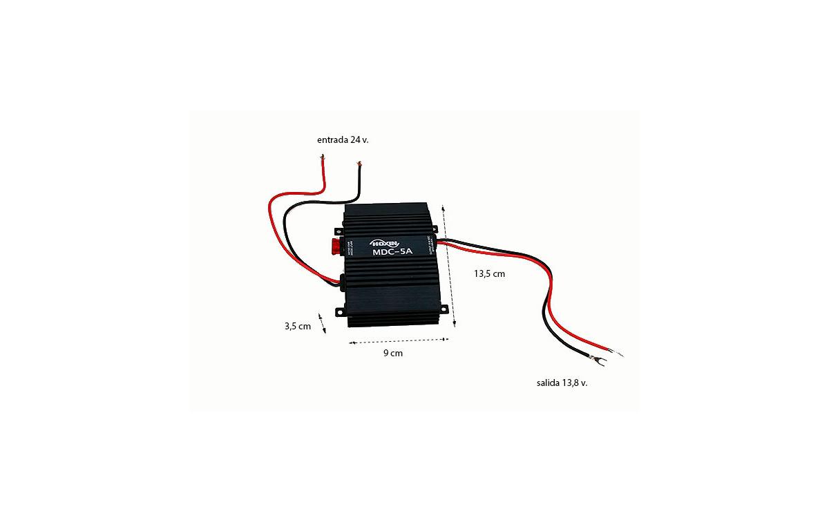 MDC5A HOXIN Conversor DC-DC. Reductor de tensión 24 - 12 voltios 5 amperios. Tecnología lineal de alta calidad muy resistente.