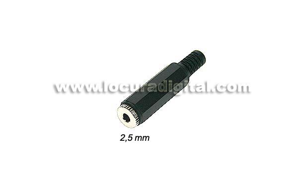 CON218B female 2.5 mm connector jack. Stereo