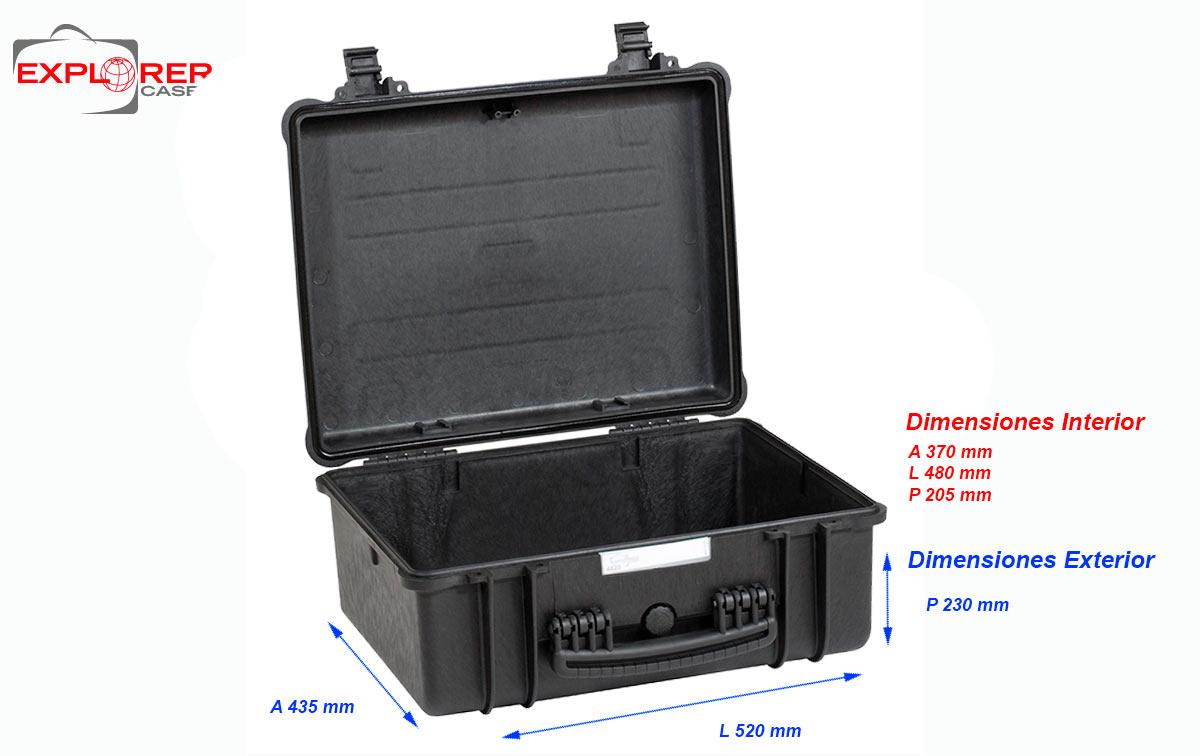 4820BE Maleta Explorer negra sin espuma Int- L480 x A370 xP205mm medidas exterior: Largo 520 x Ancho 435 x Profundidad 230 mm. Maleta de proteccion indestructible de polipropileno ideal para proteger equipos de radiocomunicacion, camaras, de tamaño mediano y accsorios etc., Incluye espuma en su interiores acolchado personalizables. Normativa IP67 estanca al agua y polvo.