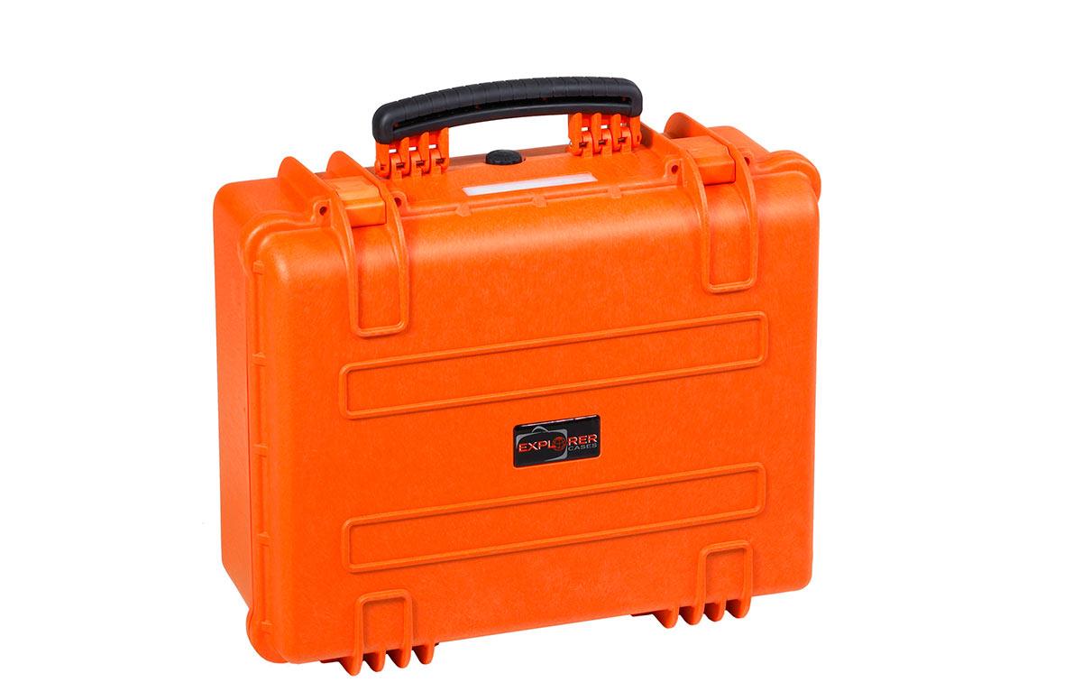 4820OE Maleta Explorer naranja sin espuma Interior L480 x A370 xP205mm. medidas exterior: Largo 520 x Ancho 435 x Profundidad 230 mm. Maleta de proteccion indestructible de polipropileno ideal para proteger equipos de radiocomunicacion, camaras, de tamaño mediano y accsorios etc. Normativa IP67 estanca al agua y polvo.