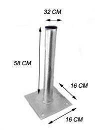 AC7029 de apoio no solo mastro de antena parab?a 60/80 cm e comunica? por r?o