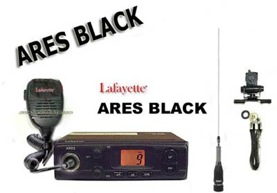 ARESBLACK KITD. CB 27 Mhz transmitter model ARES BLACK LAFAYETTE brand. AM / FM 4 watts. Color BLACK. BRAVO 150 + ANTENNA + BASE WITH SPRING-HINGED SP100M MUTI