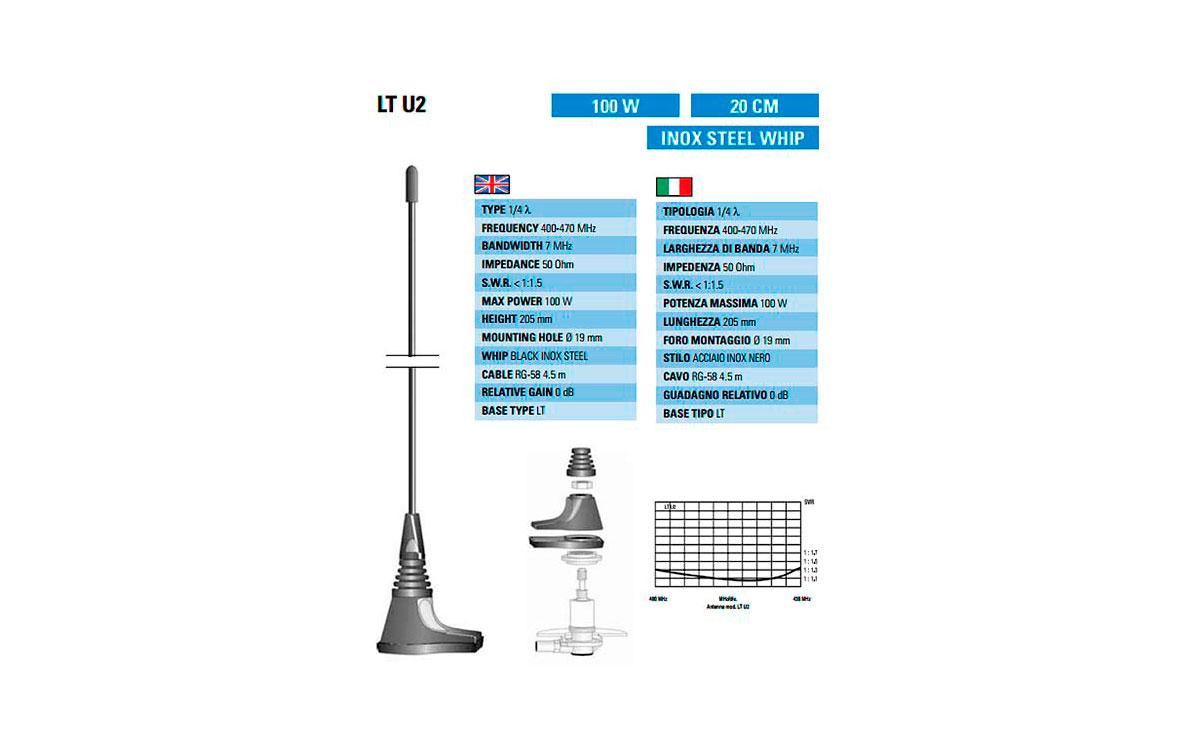 LTU2 SIRTEL Antena móvil 1/4 UHF 400-470 Mhz. 100 watios. Long. 20 cms.