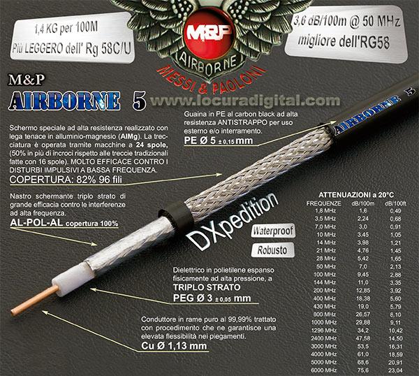 airborne-5 m&p cable coaxial alta calidad, baja perdida especial para expediciones dx grosor 5 mm. vivo grosor 1,3 mm.