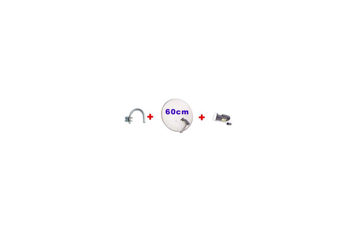 PARABOLICA PA 60K.kit de antena parabolica de 60 cm + LNB UNIVERSAL. + Soporte pared tipo U