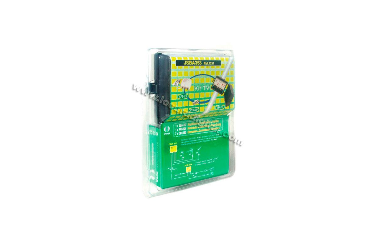 JSBA210 IKUSI kit amplificador TV 40 dB de mástil  VHF/UHF + Alimentador, 2 salida