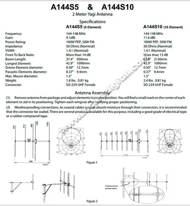 A144S10 DIAMOND Antena directiva 10 elementos para VHF
