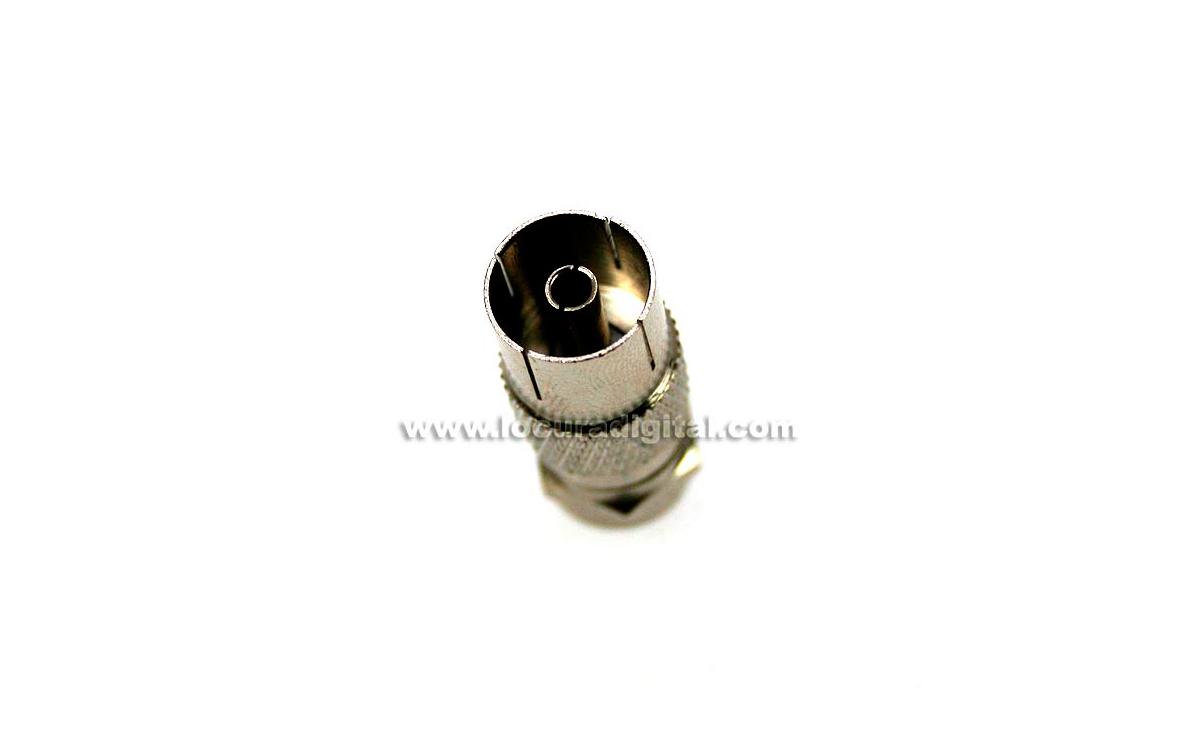 vr7541. adaptador iec hembra (conector hembra de tv estandar) a f macho.