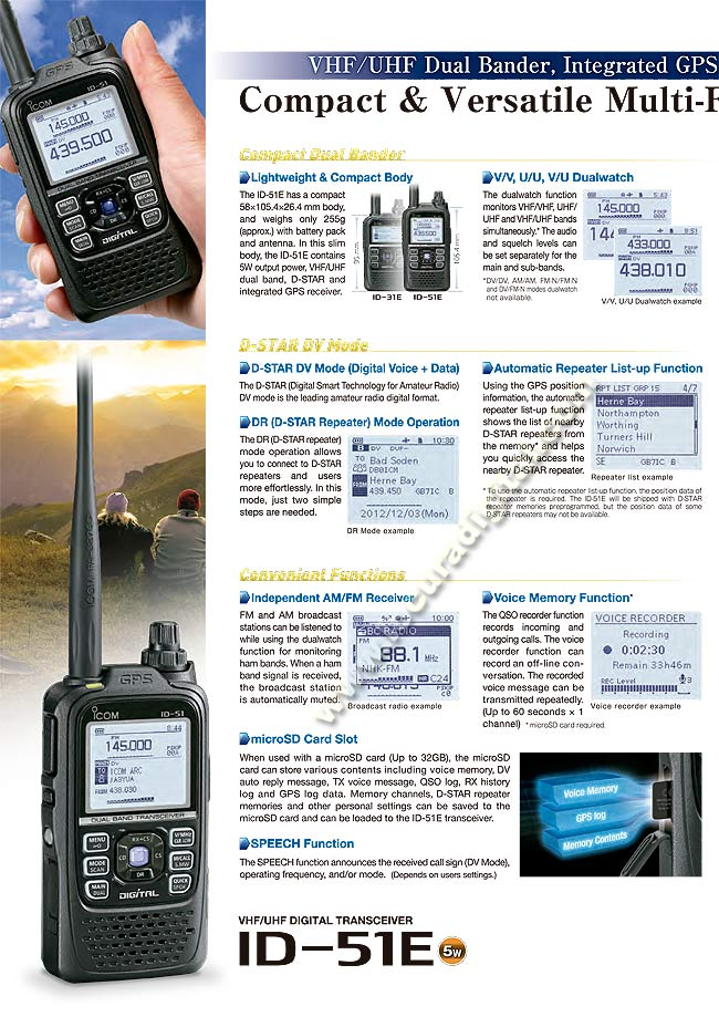 ICOM ID 51E Walkie doble banda VHF/UHF DIGITAL