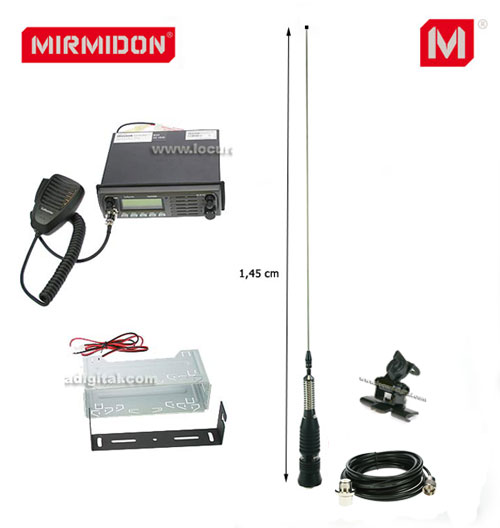 TRUCKER- KIT1 Émetteur LAFAYETTE CB 27 Mhz. ANTENNA MIRMIDON BRAVO-150 SUPPORT SP100 BASEANTENA BA55M.