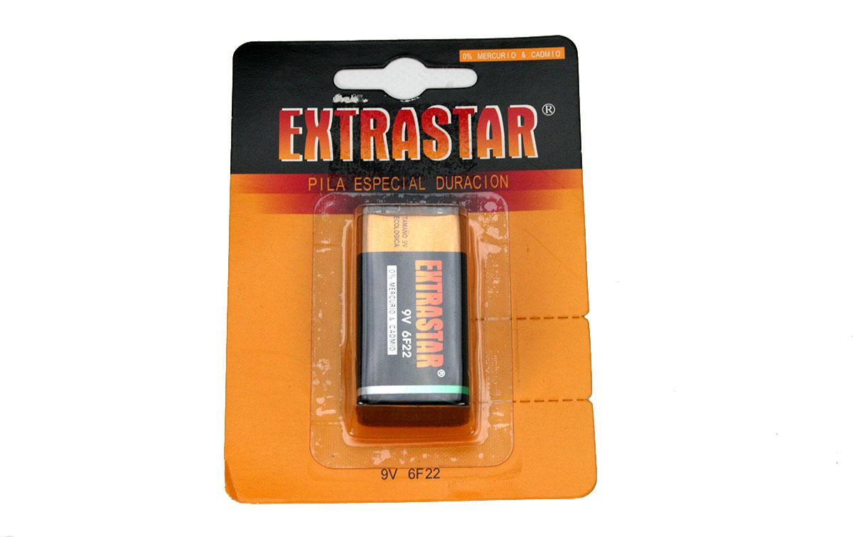 6F22 EXTRASTAR pilas Alkalina 9 voltios tipo R9