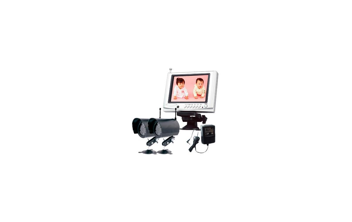 DF1202 Sistema video vigilancia SIN CABLES, VIA RADIO con Monitor de 5 pulgadas + 2 cámaras resisten