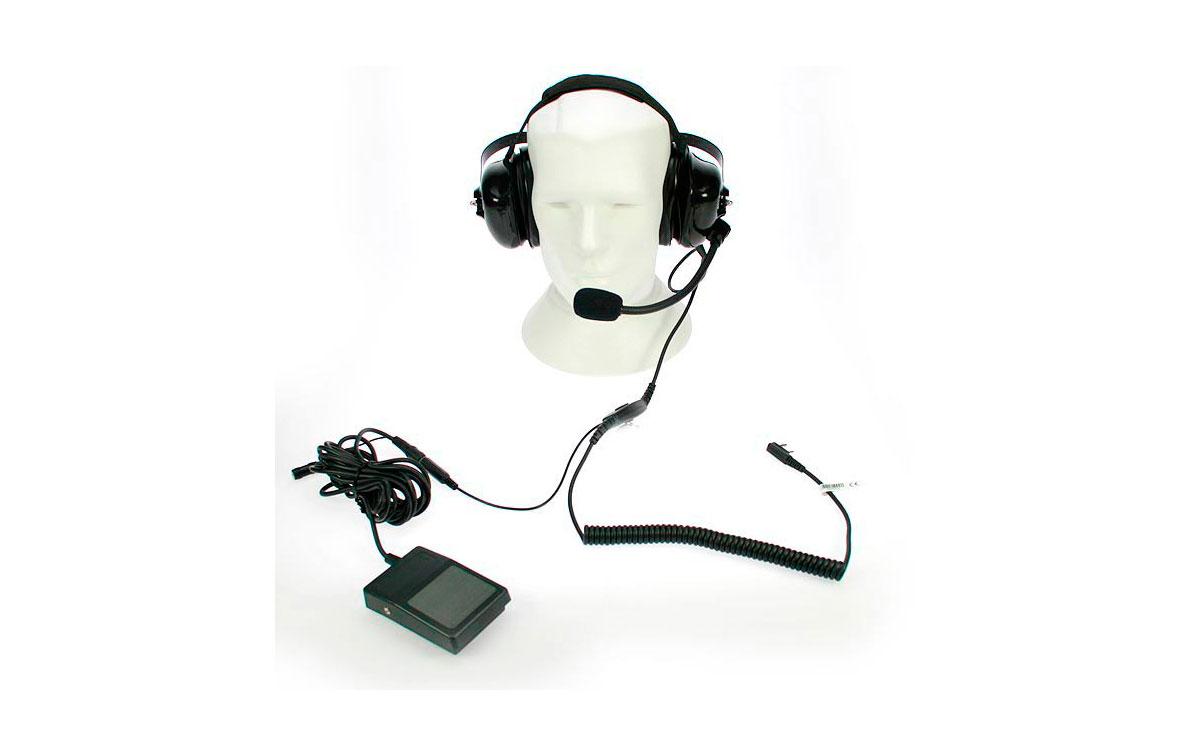 NAUZER HEL880K PEDAL Micro-Auriculares tipo casco profesional para walkies KENWOOD + PEDAL PTT